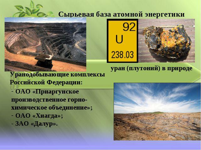 Сырьевая база атомной энергетики уран (плутоний) в природе Уранодобывающие ко...