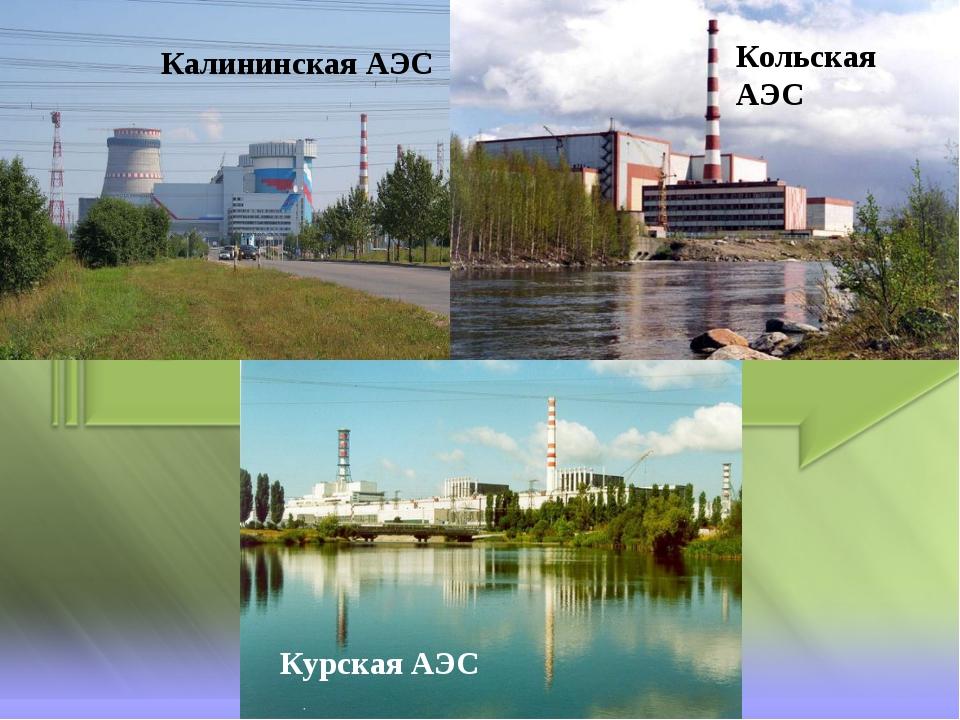 Калининская АЭС Кольская АЭС Курская АЭС