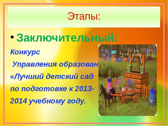 Этапы: Заключительный: Конкурс Управления образования «Лучший детский сад по...