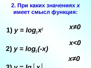 2. При каких значениях х имеет смысл функция: 1) у = log3 х2 2) у = log5 (-х)