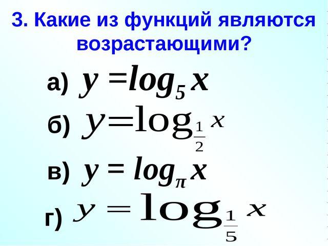 3. Какие из функций являются возрастающими? а) у =log5 х в) у = logπ х б) г)