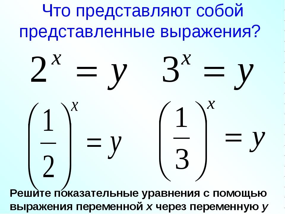 Что представляют собой представленные выражения? Решите показательные уравнен...