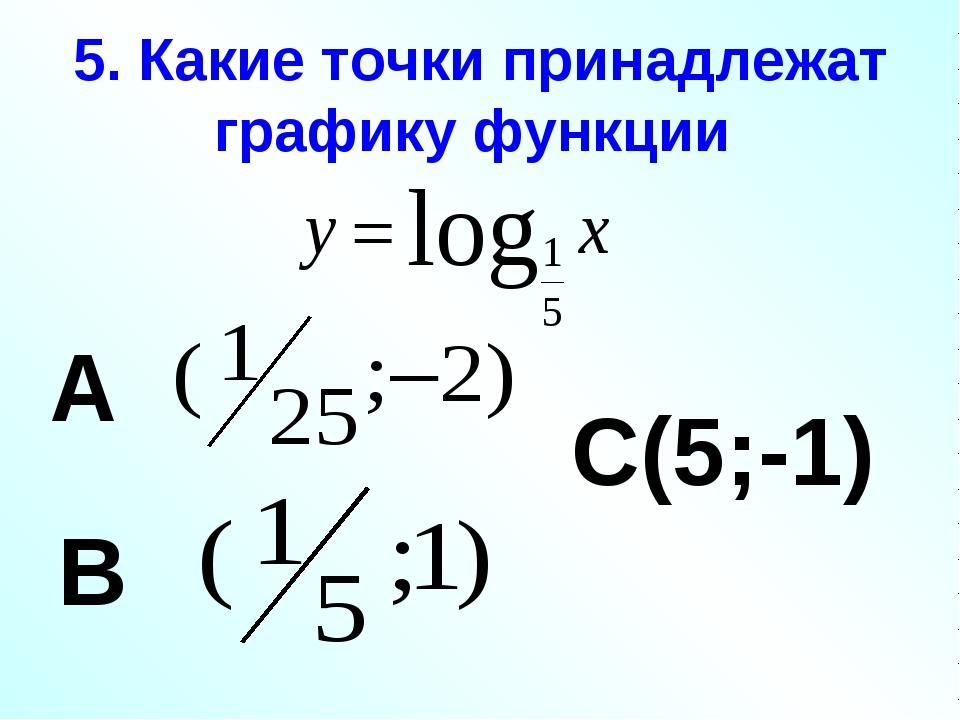 5. Какие точки принадлежат графику функции А В С(5;-1)