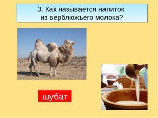 3. Как называется напиток из верблюжьего молока?
