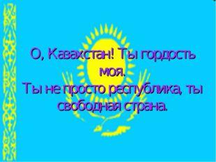 О, Казахстан! Ты гордость моя. Ты не просто республика, ты свободная страна.