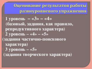 1 уровень – «3» – «4» (базовый, задания, как правило, репродуктивного характе