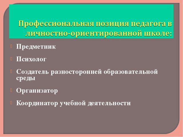Предметник Психолог Создатель разносторонней образовательной среды Организато...