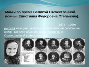 Мамы во время Великой Отечественной войны (Епистиния Фёдоровна Степанова). Еп