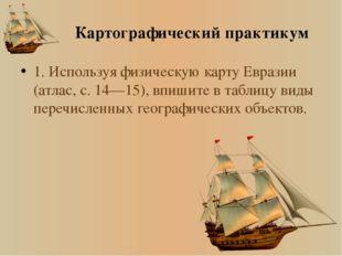 № Виды географических объектов Название географических объектов 1 Тверь 2 Вол