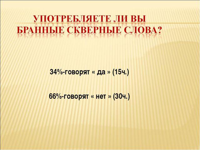 34%-говорят « да » (15ч.) 66%-говорят « нет » (30ч.)