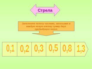 Стрела Заполните полосу числами, записывая в каждую новую клетку сумму двух п