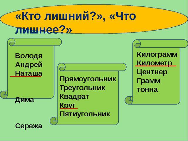 Володя Андрей Наташа Дима Сережа Килограмм Километр Центнер Грамм тонна Прям...