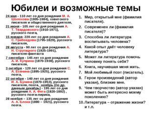 Юбилеи и возможные темы 24 мая - 110 лет со дня рождения М. А. Шолохова (1905