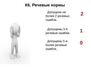 К6. Речевые нормы Допущено не более 2 речевых ошибок.2 Допущены 3-4 речевые