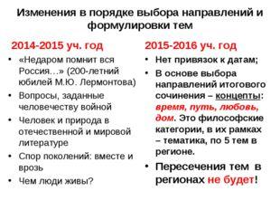 Изменения в порядке выбора направлений и формулировки тем 2014-2015 уч. год «