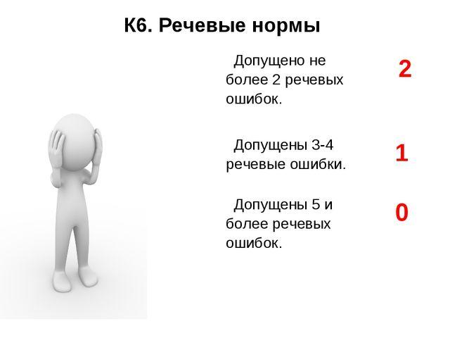 К6. Речевые нормы Допущено не более 2 речевых ошибок.2 Допущены 3-4 речевые...