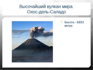 Высота - 6893 метра Высочайший вулкан мира Охос-дель-Саладо