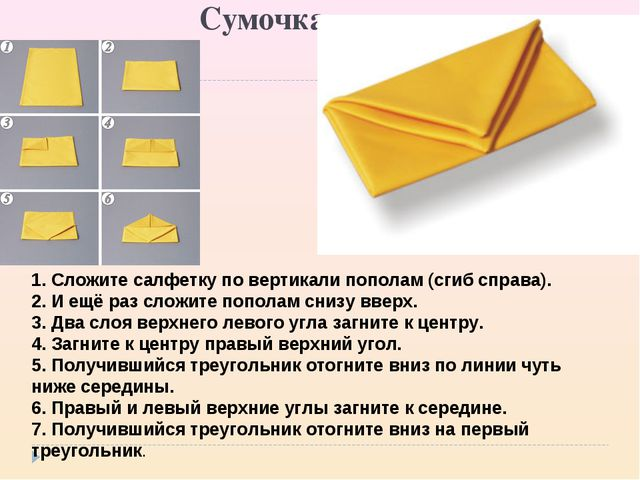 Сумочка 1. Сложите салфетку по вертикали пополам (сгиб справа). 2. И ещё ра...