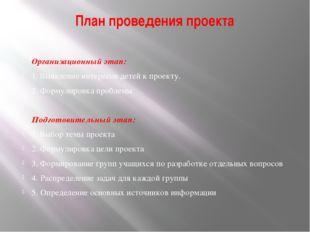 План проведения проекта  Организационный этап: 1. Выявление интересов детей