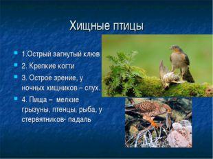 Хищные птицы 1.Острый загнутый клюв 2. Крепкие когти 3. Острое зрение, у ночн