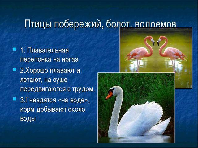 Птицы побережий, болот, водоемов 1. Плавательная перепонка на ногаз 2.Хорошо...
