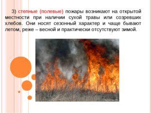 3) степные (полевые) пожары возникают на открытой местности при наличии сухой