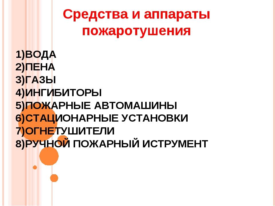 Средства и аппараты пожаротушения ВОДА ПЕНА ГАЗЫ ИНГИБИТОРЫ ПОЖАРНЫЕ АВТОМАШИ...