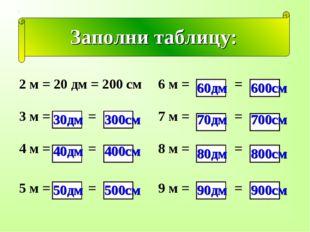 Заполни таблицу: 30дм 300см 40дм 400см 50дм 500см 60дм 600см 70дм 700см 80дм