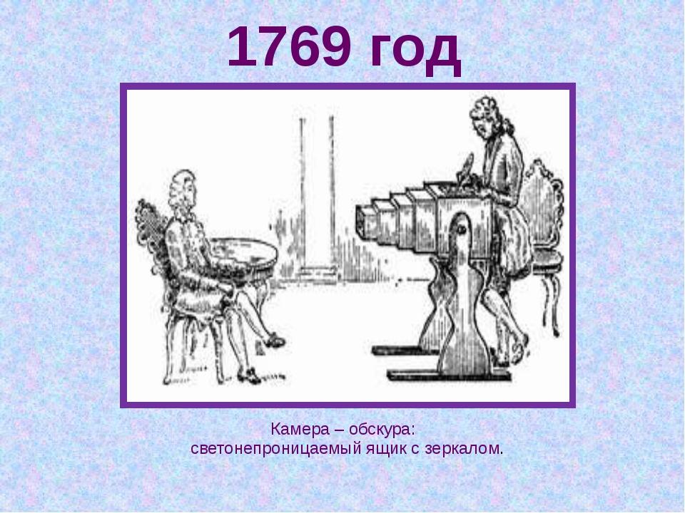 1769 год Камера – обскура: светонепроницаемый ящик с зеркалом.