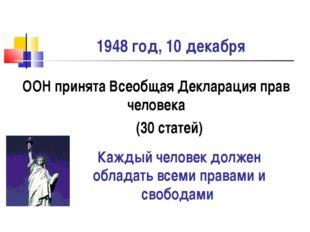 1948 год, 10 декабря ООН принята Всеобщая Декларация прав человека (30 статей