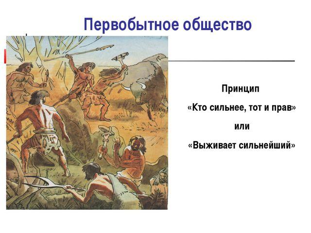 Первобытное общество Принцип «Кто сильнее, тот и прав» или «Выживает сильнейш...
