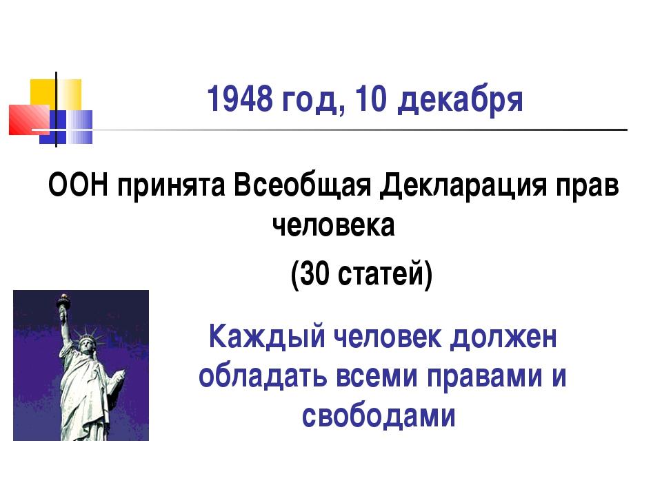1948 год, 10 декабря ООН принята Всеобщая Декларация прав человека (30 статей...