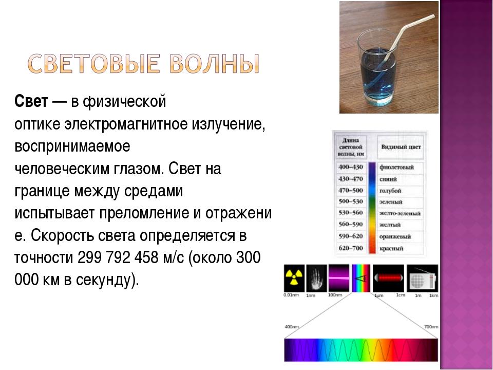 Свет— вфизической оптикеэлектромагнитное излучение, воспринимаемое человеч...