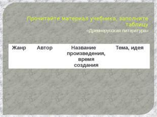 Прочитайте материал учебника, заполните таблицу «Древнерусская литература» Ж