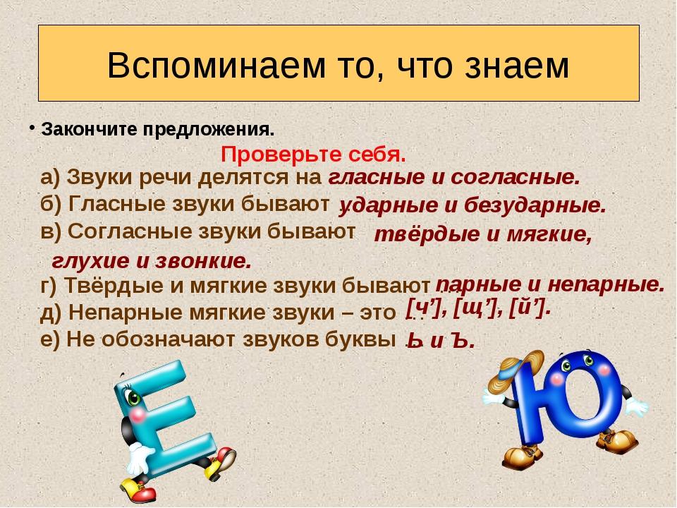 Вспоминаем то, что знаем Закончите предложения. а) Звуки речи делятся на … б)...