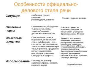 Особенности официально-делового стиля речи Условия трудового договора Приорит