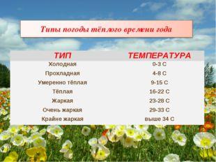 ТИПТЕМПЕРАТУРА Холодная0-3 С Прохладная4-8 С Умеренно тёплая9-15 С Тёплая