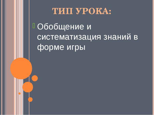 ТИП УРОКА: Обобщение и систематизация знаний в форме игры