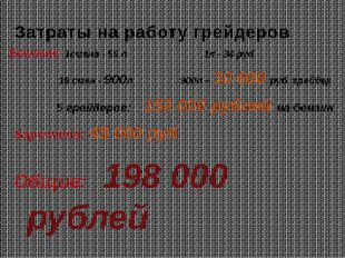 Затраты на работу грейдеров Бензин: 1смена - 50 л 1л - 34 руб 18 смен - 900л