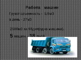 Работа машин Грузоподъемность - 5,5м3 в день - 27м3 2500м3 за 93дня(одна маши