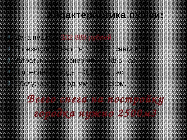 Характеристика пушки: Цена пушки – 332 889 рублей Производительность - 10м3 с...
