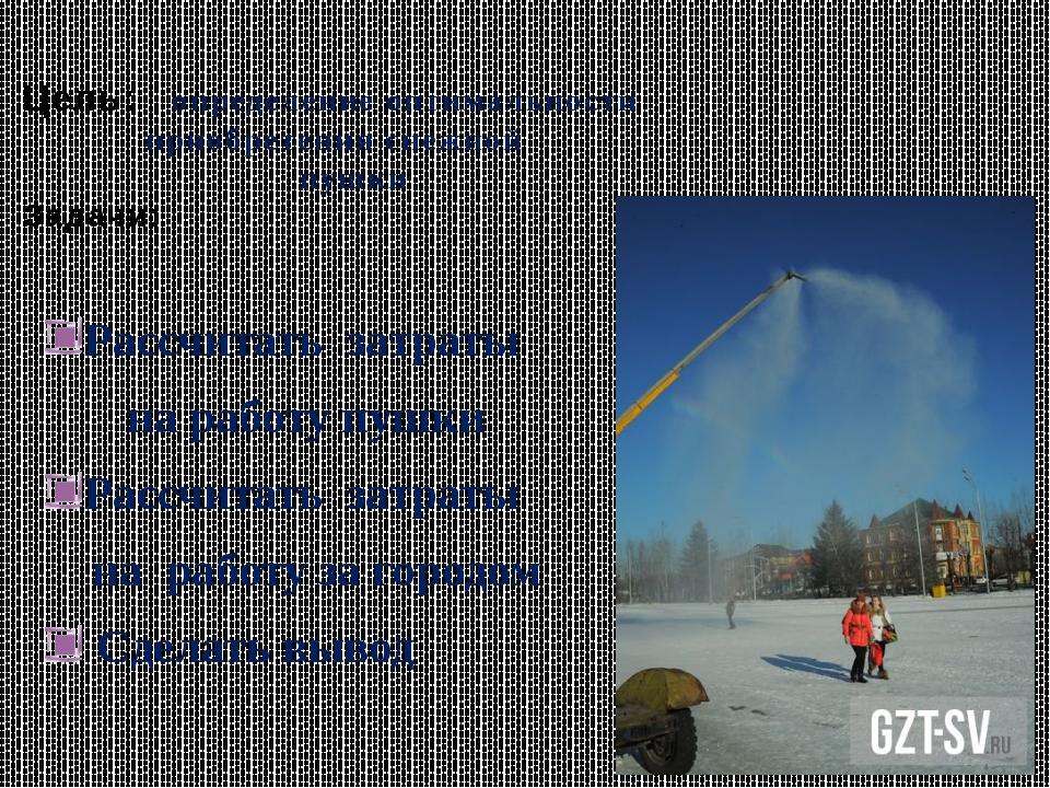 Цель: определение оптимальности приобретения снежной пушки Задачи: Рассчитат...