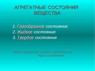 АГРЕГАТНЫЕ СОСТОЯНИЯ ВЕЩЕСТВА: 1. Газообразное состояние 2. Жидкое состояние