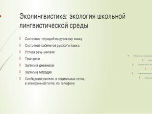 Эколингвистика: экология школьной лингвистической среды Состояние тетрадей по