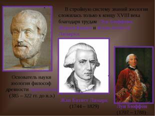 Основатель науки зоология философ древности Аристотель (385 – 322 гг. до н.э