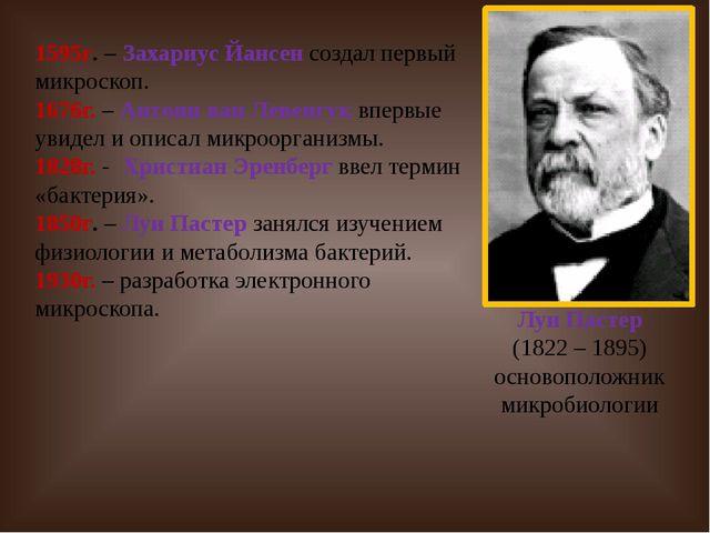Луи Пастер (1822 – 1895) основоположник микробиологии 1595г. – Захариус Йанс...
