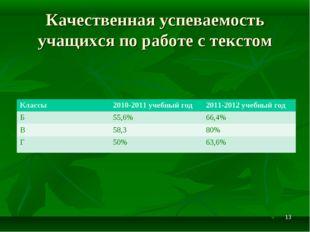 Качественная успеваемость учащихся по работе с текстом * Классы2010-2011 уче