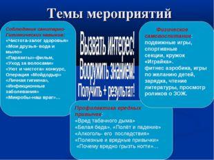 Темы мероприятий Соблюдение санитарно- Гигиенических навыков: «Чистота-залог