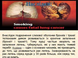 Внаслідок подразнення слизової оболонки бронхів і трахеї тютюновим димом розв