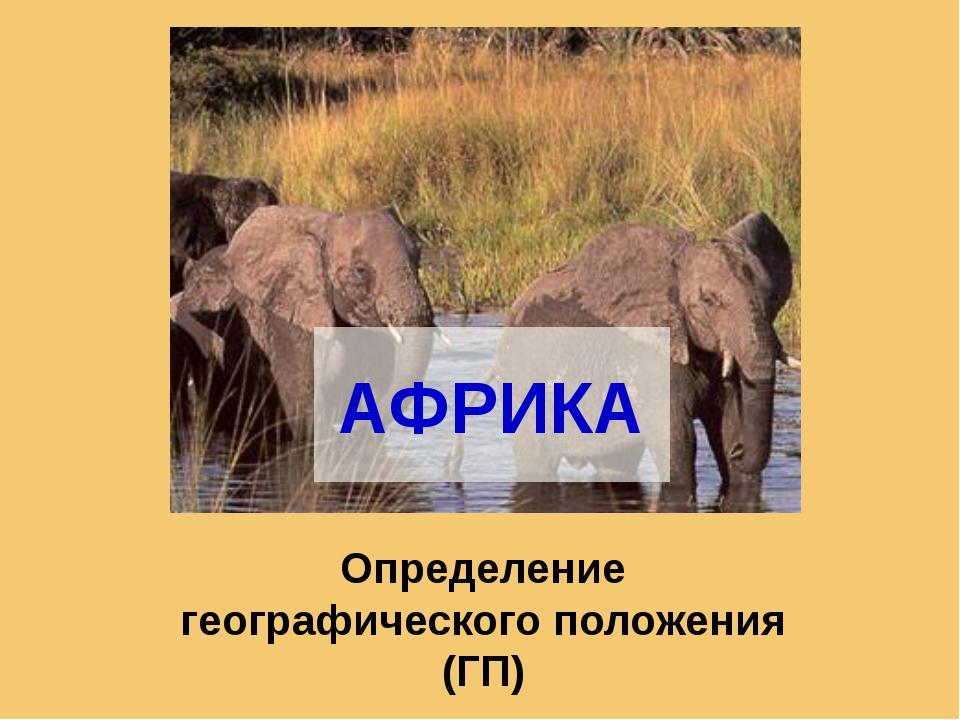 АФРИКА Определение географического положения (ГП)